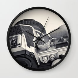 Retro SLR camera in hands photographer Wall Clock
