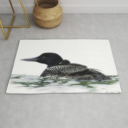 Northern Loon Mother with chick on back Rug