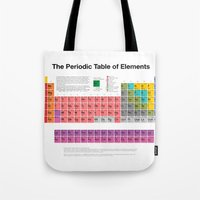 periodic table Tote Bags featuring The Periodic Table of Elements by moleculestore