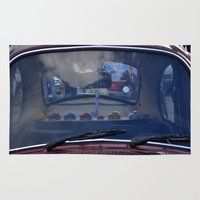 volkswagen Area & Throw Rugs featuring volkswagen beetle car by gzm_guvenc