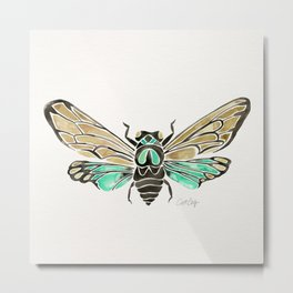 Summer Cicada – Mint & Tan Palette Metal Print