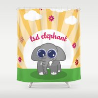 lsd Shower Curtains featuring LSD Elephant by flydesign