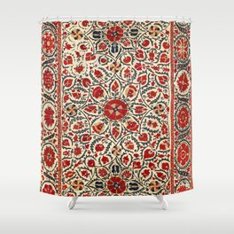 Bokhara Suzani Uzbekistan Colorful Embroidery Print Shower Curtain
