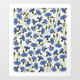 Vintage Pressed Flowers - Blue Cornflower  Art Print