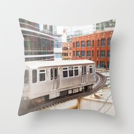 Chicago Train Photography - 3426 Throw Pillow