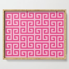 Girly Pink Large Greek Key Pattern Comforters Serving Tray