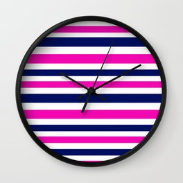 Luxury vintage stripes : Blue with Pink Wall Clock