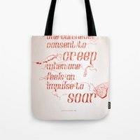 helen green Tote Bags featuring Soar - Illustrated quote of Helen Keller by VonFires (Adele van Vuuren)