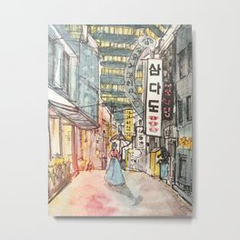 South Korean street cafe  shops illustration with girl in hanbok Metal Print