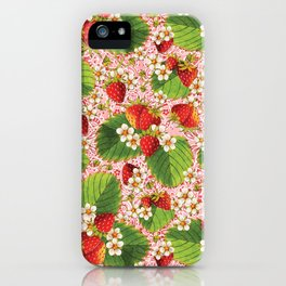 Pink Paisley Strawberries iPhone Case