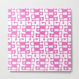 Mid Century Modern Abstract 213 Pink Metal Print