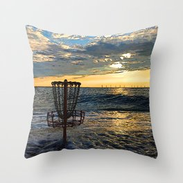 Disc Golf Basket Chesapeake Bay Virginia Beach Ocean Sunset Throw Pillow