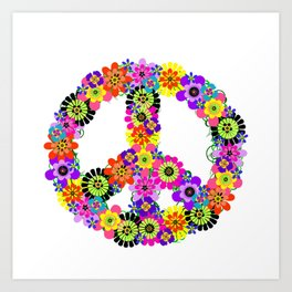 Peace Sign of Flowers Art Print
