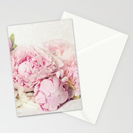 Peonies on white Stationery Cards
