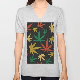 Colorful canabis leafs pattern Unisex V-Neck