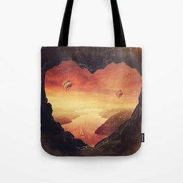 heart shaped cave Tote Bag