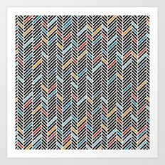Herringbone Blue and Black #3 Art Print