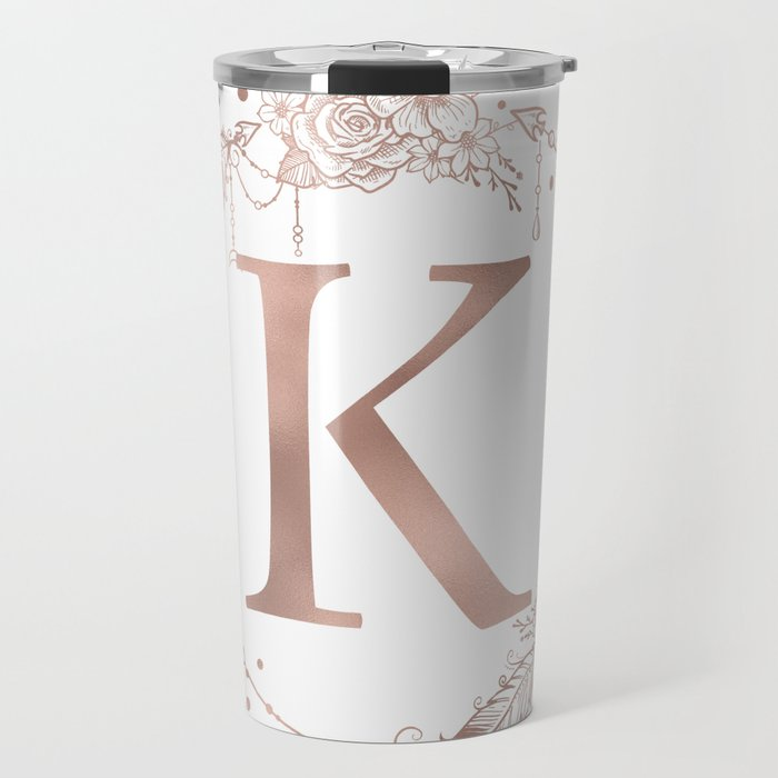 letter k rose gold pink initial monogram travel mug by naturemagick
