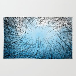 Cyan Linear Crosshatch Rug