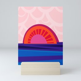 Retro Sunset – Illustration in bright blue, orange and red Mini Art Print