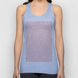 Cute girly hand drawn abstract cat face on pastel pink Unisex Tank Top