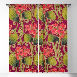 Red Carnation Floral Blackout Curtain
