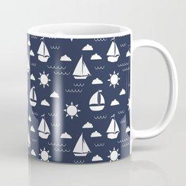 Sailboat Bay // Navy Coffee Mug
