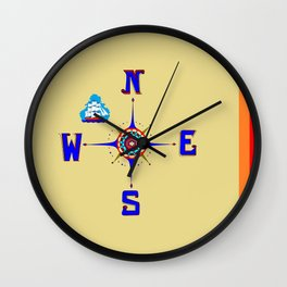 A Nautical Compass Rose with Ship Wall Clock