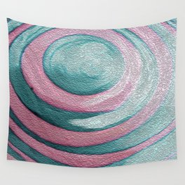 Pink & Sea Blue Circles Photograph of Painting Wall Tapestry