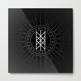 Web of Wyrd The Matrix of Fate- Black and White Metal Print