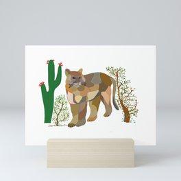 Mountain Lion in Desert Mini Art Print