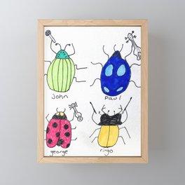 The Beetles Band Bug Doodle Drawing Framed Mini Art Print