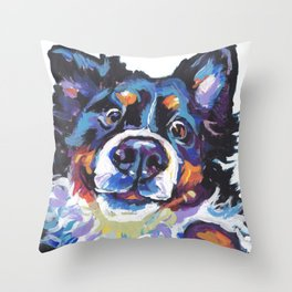 Berner Bernese Mountain Dog Portrait Pop Art painting by Lea Throw Pillow