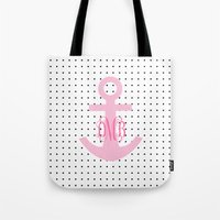 polkadot Tote Bags featuring Polkadot Pink Anchor by KM Designs