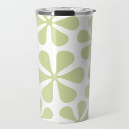 Abstract Flowers Lime Color on White Travel Mug