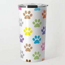 Colorful puppy paw prints pattern Travel Mug