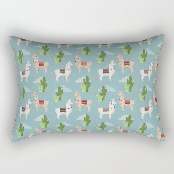 Cute Llamas Illustration Rectangular Pillow