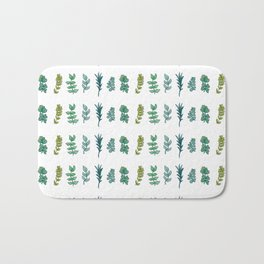 Six Leaves in Blue and Green Bath Mat