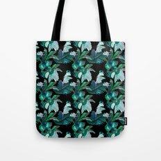 Midnight Iris / Black Tote Bag