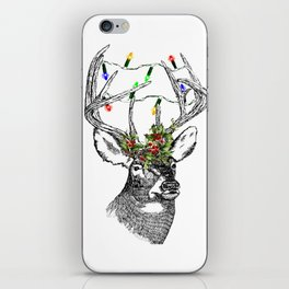 Christmas Stag with holly and fairy lights iPhone Skin