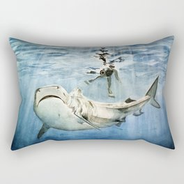 Shark & Man Rectangular Pillow