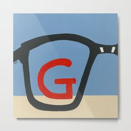 G is for Glasses Metal Print