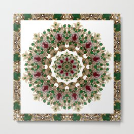 Mandala No. 8 - Ruby, Emeralds & Diamonds Metal Print