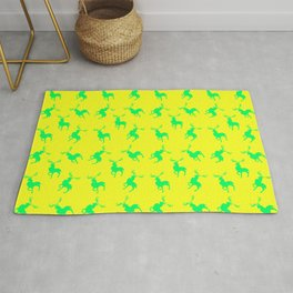 green moose silhouettes against bright yellow background pattern graphic design Rug