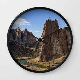 River and Rock Wall Clock