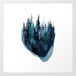 Turquoise Glow - Pine Forest Art Print