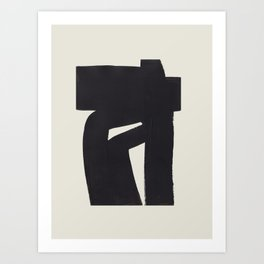 Black & White Minimalist Abstract Shapes Patterns Black Ink Painting Art Print
