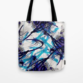 All Over Abstract Pollock Style Aqua and Blue Tote Bag