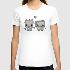 Robot Love SMALL White Womens Fitted Tee