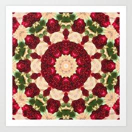 Old Red Rose Kaleidoscope 7 Art Print